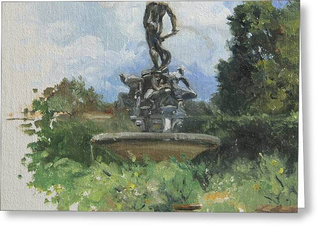 Outdoor Garden Greeting Cards - Fountain in the Boboli Gardens Florence Greeting Card by Anna Rose Bain