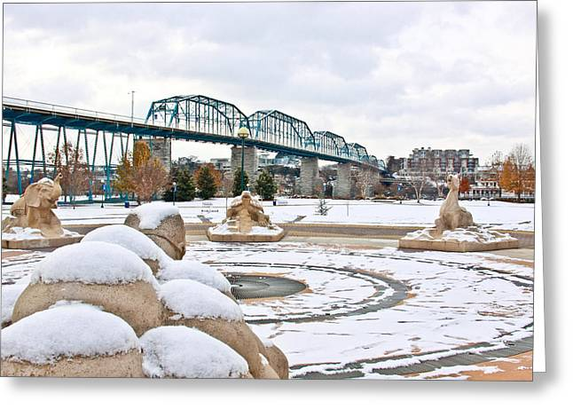Chattanooga Greeting Cards - Fountain in Winter Greeting Card by Tom and Pat Cory