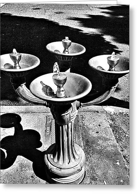Installation Mixed Media Greeting Cards - Fountain  Greeting Card by Julie Boland