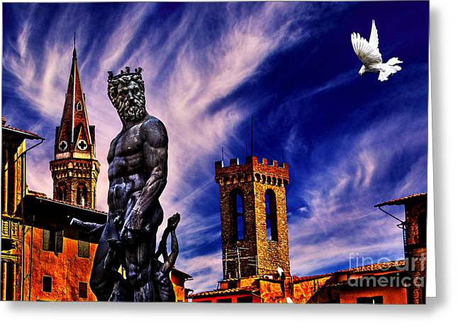 Buonarroti Photographs Greeting Cards - Fountain Of Neptune Florence Italy Greeting Card by Milan Karadzic