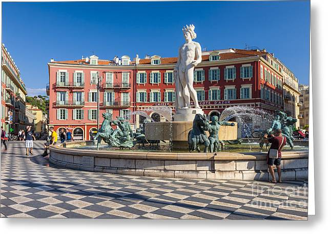 Italian Mediterranean Art Greeting Cards - Fountain of the sun at Place Massena in Nice Greeting Card by Elena Elisseeva