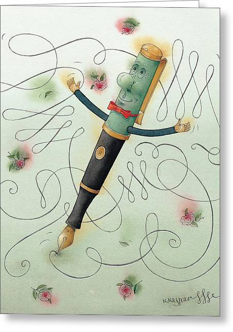 Calligraphy Pen Greeting Cards - Fountain-Pen  Greeting Card by Kestutis Kasparavicius
