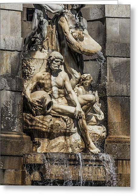 Sculpture Mixed Media Greeting Cards - Fountain People Greeting Card by Svetlana Sewell