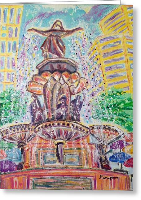 Ice-skating Greeting Cards - Fountain Square  Cincinnati  Ohio Greeting Card by Diane Pape