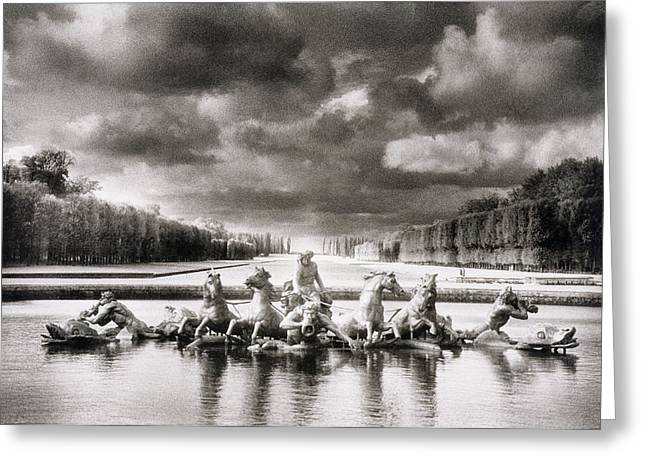 Fountain Photograph Greeting Cards - Fountain with Sea Gods at the Palace of Versailles in Paris Greeting Card by Simon Marsden