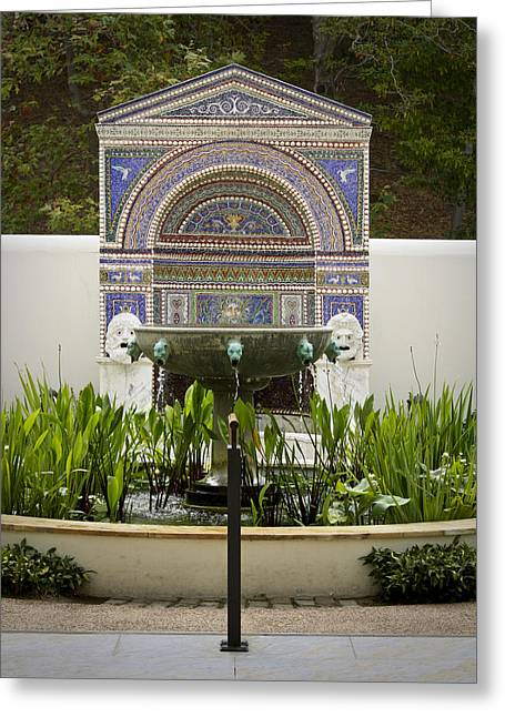 J Paul Greeting Cards - Fountains at the Getty Villa Greeting Card by Teresa Mucha