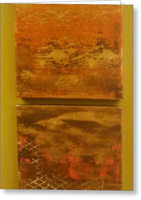 Beige Abstract Greeting Cards - Four Brown Panels Greeting Card by Jacqueline Athmann