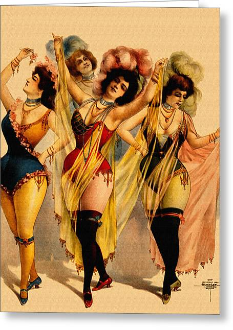 Night Cafe Drawings Greeting Cards - Four Burlesque Girls - Vintage Pin-Up Ad Greeting Card by Just Eclectic