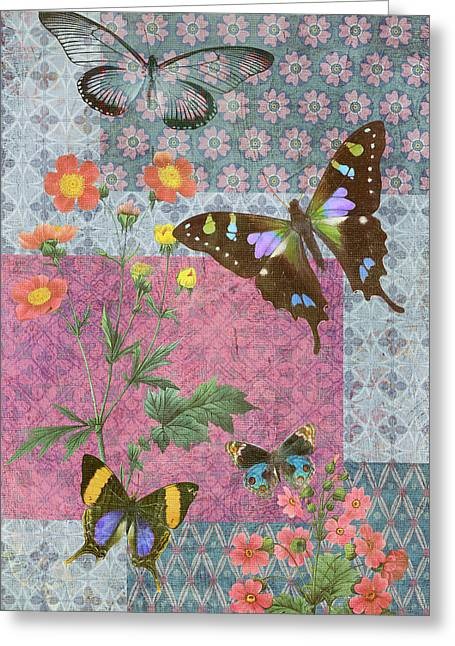 Colorful Quilts Greeting Cards - Four Butterfly Patch Blue Greeting Card by JQ Licensing