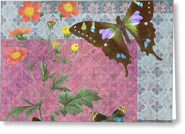 Four Butterfly Patch Blue Greeting Card by JQ Licensing