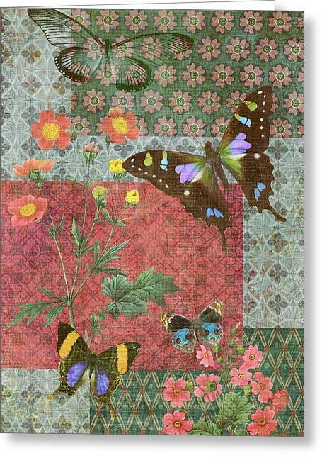 Fabric Greeting Cards - Four Butterfly Patch Green Greeting Card by JQ Licensing