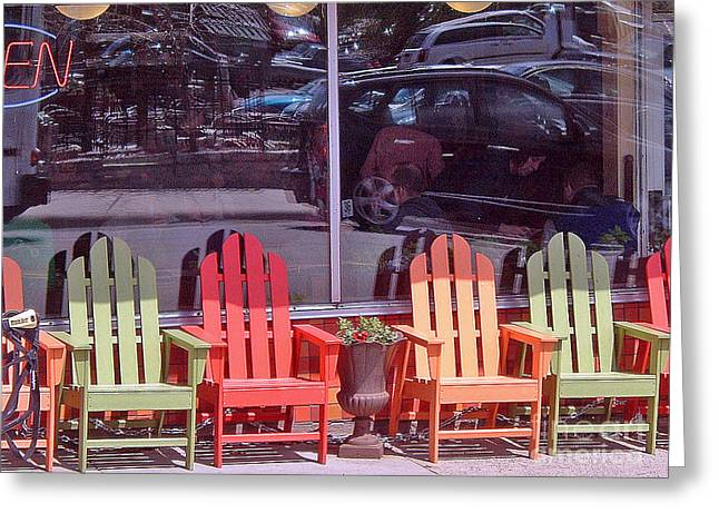 Photos With Red Greeting Cards - Four Chairs Greeting Card by Paul Thompson