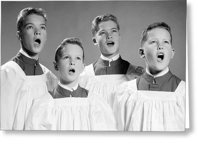 Harmonize Greeting Cards - Four Choir Boys Singing, C.1950-60s Greeting Card by H. Armstrong Roberts/ClassicStock