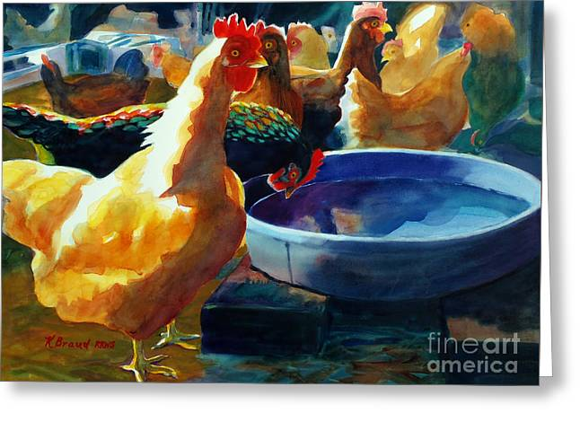 Sheds Greeting Cards - Four Clucks Greeting Card by Kathy Braud