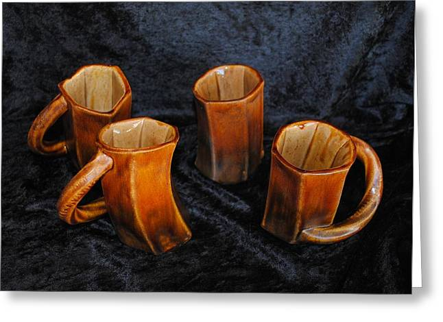 Mug Ceramics Greeting Cards - Four Cool Crooked Cups Greeting Card by John Johnson