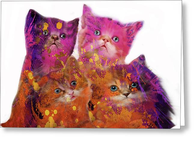Four Cute Kittens  Greeting Card by Art Spectrum