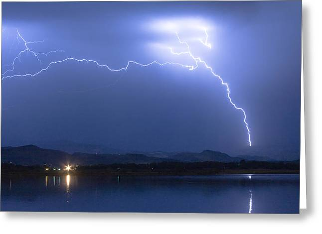 Lightning Bolt Pictures Greeting Cards - Four Cylinder Sky Spark Greeting Card by James BO  Insogna