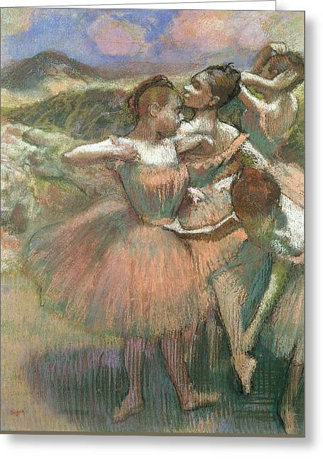 Rehearsal Pastels Greeting Cards - Four Dancers On Stage Greeting Card by Edgar Degas