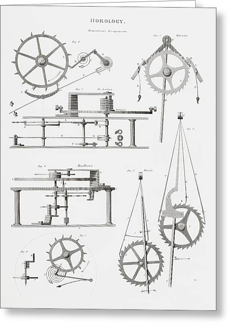 Mechanism Drawings Greeting Cards - Four Different Remontoire Escapement Greeting Card by Vintage Design Pics