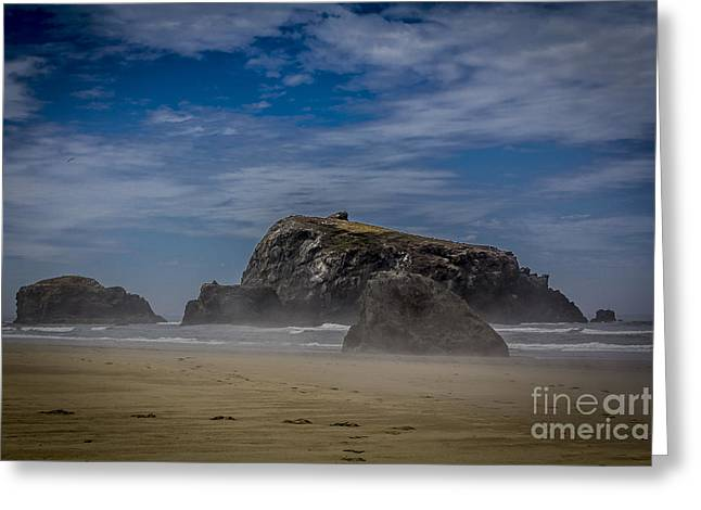Colorful Cloud Formations Greeting Cards - Four elements ocean, sand, sun and wind,  Bandon, Oregon, United States Greeting Card by Tomas Benavente