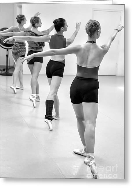 Dancers Rehearsing Greeting Cards - Four female dancers during a ballet rehearsal Greeting Card by Julia Hiebaum