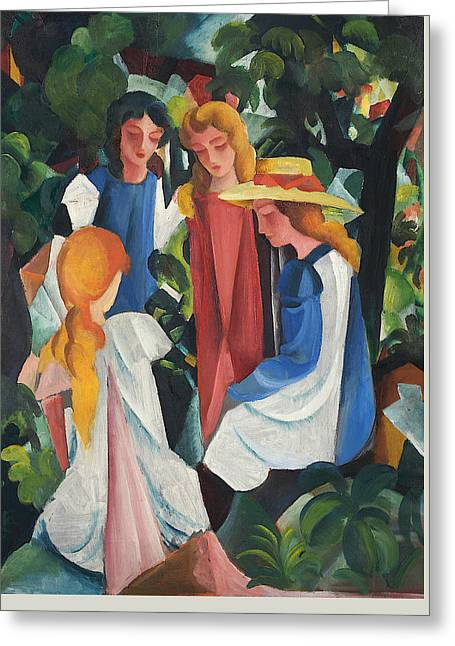 Four Girls Greeting Card by August Macke
