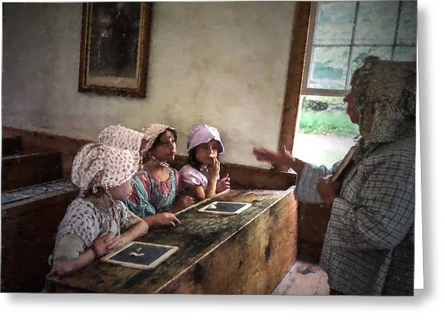 Lessons Greeting Cards - Four Girls in a one Room Schoolhouse Greeting Card by Chris Bordeleau