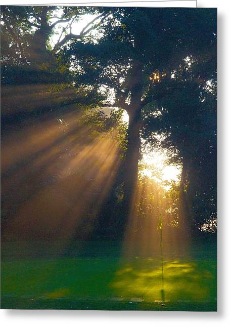 Golf Photographs Greeting Cards - Four Green Sunrise Greeting Card by Edwin Voorhees