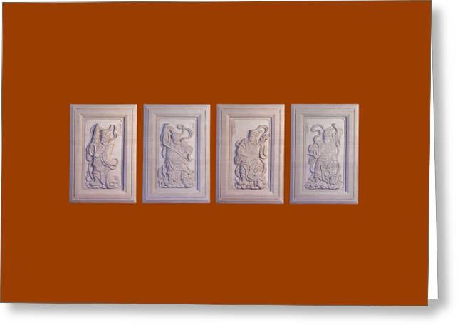Buddhism Reliefs Greeting Cards - Four Guardians Bas Relief  Greeting Card by Terrell Kaucher