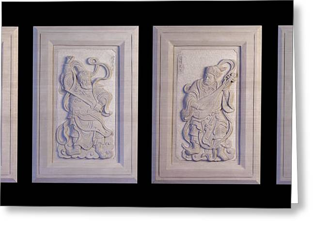 Framed Reliefs Greeting Cards - Four Guardians  Greeting Card by Terrell Kaucher