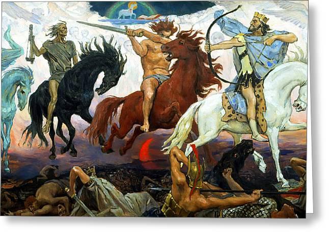Viktor Greeting Cards - Four Horsemen of the Apocalypse Greeting Card by Victor Vasnetsov