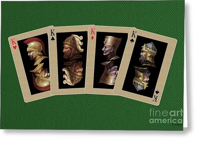 Pharaoh Mixed Media Greeting Cards - Four Kings Greeting Card by Arturas Slapsys