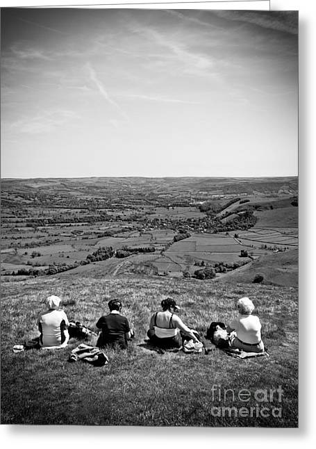 Derbyshire Greeting Cards - Four Ladies On A Hill Greeting Card by Meirion Matthias