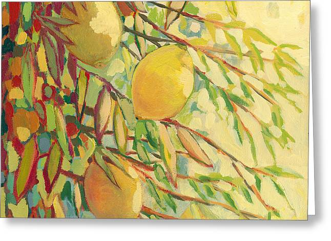 Leafs Paintings Greeting Cards - Four Lemons Greeting Card by Jennifer Lommers