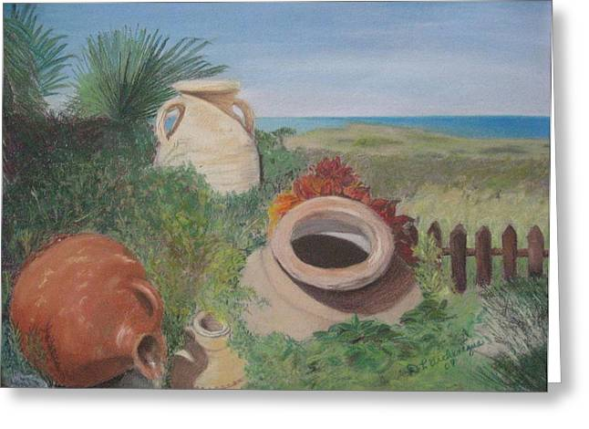 Jugs Pastels Greeting Cards - Four little brown jugs Greeting Card by Diane Larcheveque