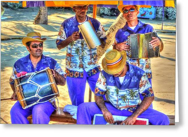 Four Man Band Greeting Card by Michael Garyet