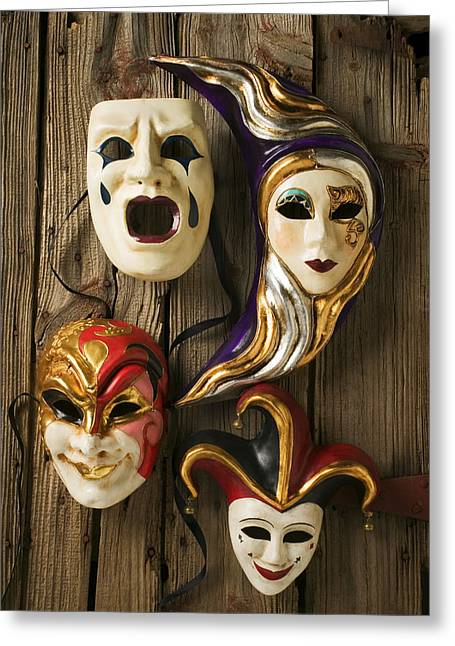 Theater Masks Greeting Cards - Four masks Greeting Card by Garry Gay