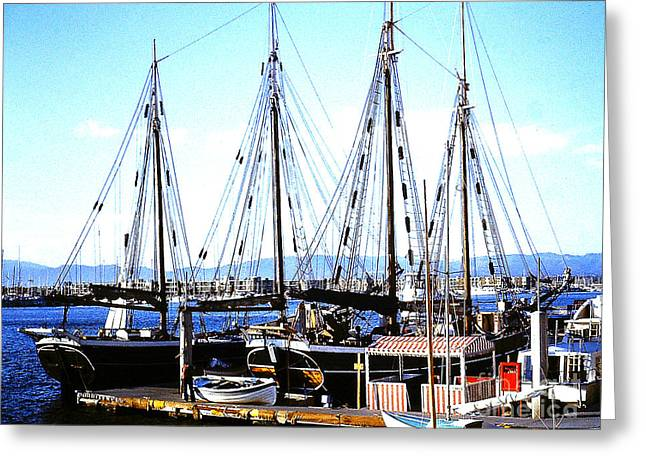 Docked Boats Greeting Cards - Four Masted Schooner Greeting Card by Merton Allen