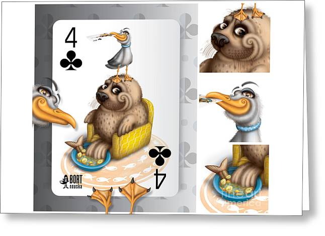 Four Of Clubs / Seal Soup Greeting Card by Vlada Bortnovska