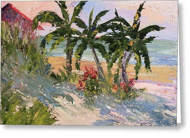 Sand Dunes Paintings Greeting Cards - Four Palms Greeting Card by Jane Woodward