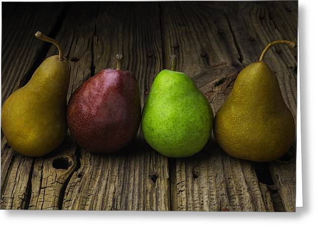 Four Pears Still Life Greeting Card by Garry Gay