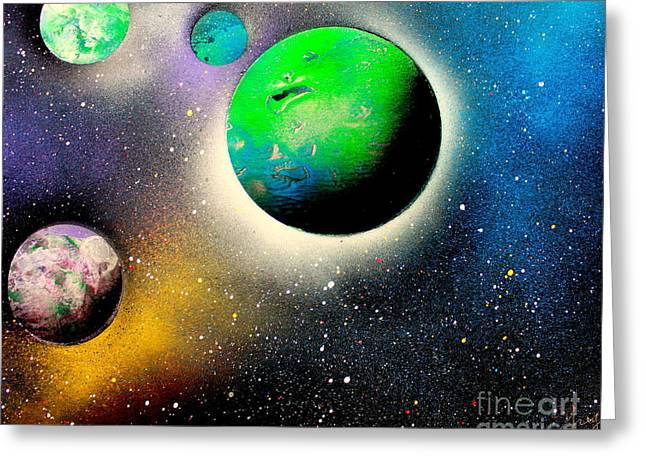 Enhanced Paintings Greeting Cards - Four Planets 02 E Greeting Card by Greg Moores