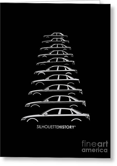 Family Car Greeting Cards - Four Rings Sedan SilhouetteHistory Greeting Card by Gabor Vida