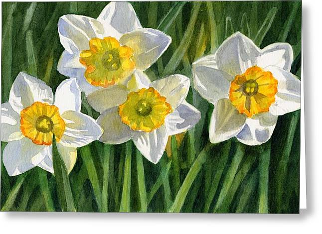 Daffodils Greeting Cards - Four Small Daffodils Greeting Card by Sharon Freeman