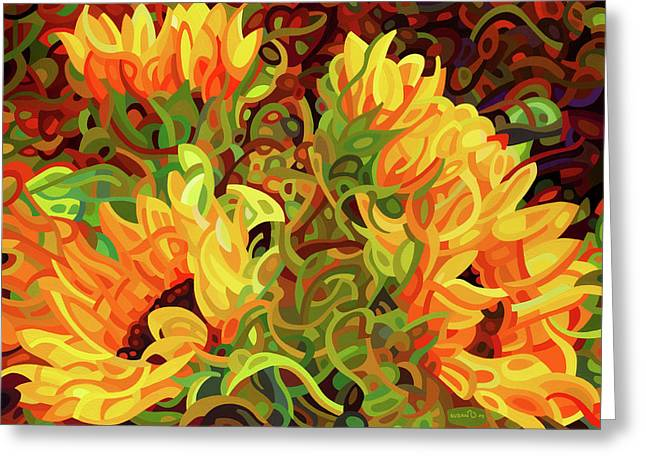 Four Sunflowers Greeting Card by Mandy Budan