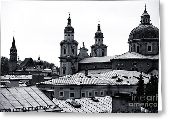 Salzburg Greeting Cards - Four Towers in Salzburg Greeting Card by John Rizzuto