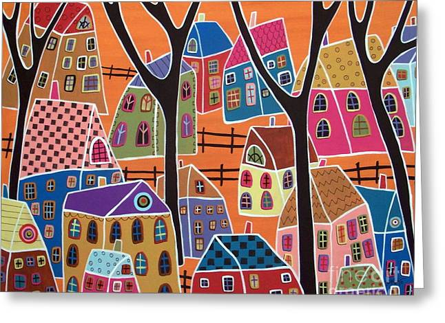 Abstract Prints For Sale Paintings Greeting Cards - Four Trees And Houses On Orange Greeting Card by Karla Gerard