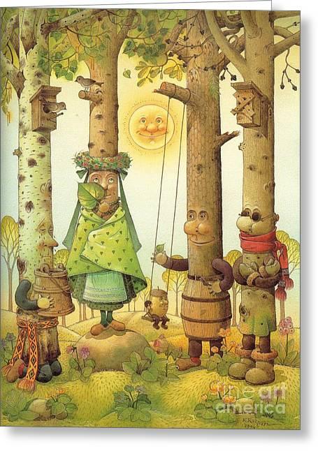 Fairies Greeting Cards - Four Trees Greeting Card by Kestutis Kasparavicius