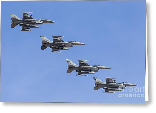 Cooperation Greeting Cards - Four U.s. Air Force F-16c Fighting Greeting Card by Rob Edgcumbe