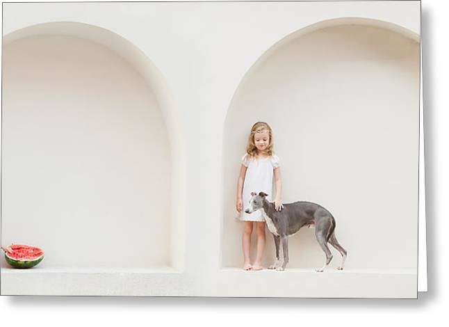 Whippet Greeting Cards - Four Years Passed... Greeting Card by Eva Miliuniene